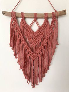 Rustic Red Macrame Wall Hanging Handmade