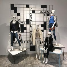"""SAKS FIFTH AVENUE, Chicago, Illinois, """"The nice thing about doing a crossword puzzle is, ... You know there is a solution"""", pinned by Ton van der Veer"""