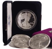 This set contains all Silver Eagles minted to date. Included are 2 coins (a proof and unc.) for each year from 1986 to date (no proof coin was struck in Silver Eagle Coins, Silver Eagles, Eagle Design, United States Mint, Uncirculated Coins, Proof Coins, In God We Trust, Half Dollar, Gems