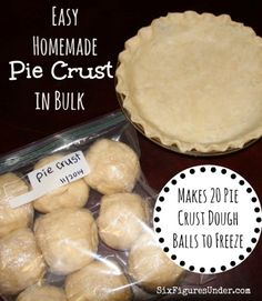 Homemade Pie Crust in Bulk Making pie crust in bulk allows you to freeze enough balls of dough to last the whole year for fruit pies, pot pies, quiches and more! Save time and money by making 20 crusts at a time. Here's a step-by-step photo tutorial! Homemade Pie Crusts, Pie Crust Recipes, Homemade Pies, Homemade Cake Mixes, Freezer Cooking, Freezer Meals, Cooking Tips, Freezer Desserts, Bulk Cooking