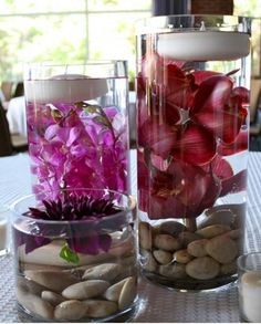 Floating candles, flowers, and water in a vase. Cute simple decoration