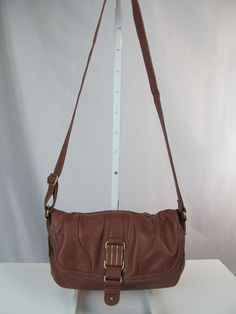 JESSICA SIMPSON Cute Brown Fold Over Crossbody Shoulder Bag Handbag Purse #JessicaSimpson #MessengerCrossBody