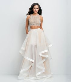 This would make such a cool lengha...   White/Nude:Glamour by Terani Couture Beaded Bodice Crip-Top Two-Piece Ball Gown