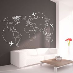 World Map Outlines With Continents Decal - Large World Map Vinyl Wall Sticker…