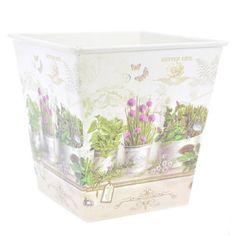 Vaso Pequeno Quadrado Decorado-estilo Provençal Flores Roxas - R$ 6,99