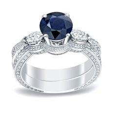 Auriya 14k Gold 1/2ct Blue Sapphire and 1/3ct TDW Round Diamonds Engagement Ring (H-I, SI1-SI2) (White Gold - Size 6.5), Women's
