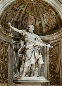 Gian Lorenzo Bernini - San Longino, 1624-33 situato nella nicchia di uno dei piloni sotto la cupola di San pietro di Michelangelo Buonarroti