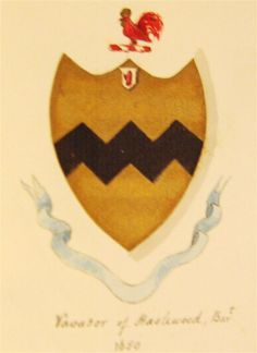 A representation of the arms of Vavasour of Hazlewood Baronets (1650). Blazon - Or, a fess dancetty Sable. Crest - A cock Gules combed and wattled Or.