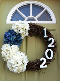 Hydrangea House number Wreath would also look cute with first letter of last name!!!