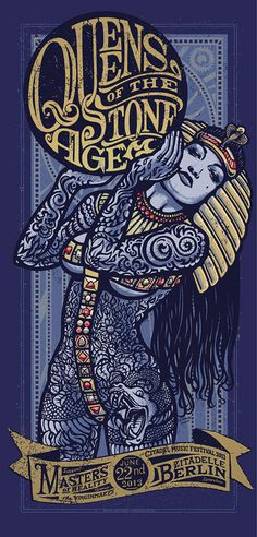 Silkscreened Gigposter by Lars P.Krause for QUEENS OF THE STONE AGE show at berlin. have a look at www.douze.de