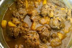 Jamaican goat curry features prominently in Jamaican cuisine. It is meaty, juicy and spicy, amazing. curry is an Indian influence. Jamaican Curry Goat, Jamaican Cuisine, Jamaican Dishes, Jamaican Recipes, Curry Recipes, Jamaican Rice, Jamaican Curry Chicken, Chicken Curry, Goat Stew Recipe