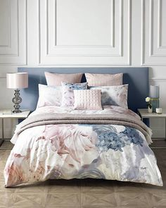 Karl Lagerfeld Bedding Blue /Pink Floral Duvet King size Cover inc Pillowcases Blue Bedding, Linen Bedding, Bed Linens, Floral Bedding, Blue Headboard, Bedding Master Bedroom, Bedroom Decor, Karl Lagerfeld, Ikea