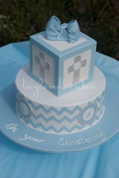 Boys Christening Cake in Blue and Silver First Holy Communion Cake, Communion Cakes, Cupcakes, Cupcake Cakes, Christening Cake Boy, Boy Baptism, Christian Cakes, Dedication Cake, Bible Cake