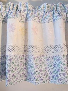 Violets Vintage LInens Valance, Upcycle Embroidery, Window Valance, Repurpose Dresser Scarf, Lavender Window Curtains