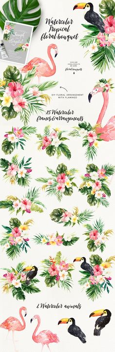 Summer Design Set-Tropical - this is a fresh collection about Summer, featuring watercolor flowers, tropical leaves, flower wreaths, flower bouquets as well as some stuff about summer - Popsicle, tropical animal and plants, summer fruits, this will perfectly fit summer project.Hope you enjoy the creation process! (AD)