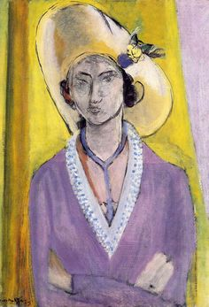 Painting by Henri Matisse (1869-1954), 1929, The Yellow Hat, Oil on canvas.