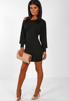 2354278a Sofia Black Off the Shoulder Jumper Mini Dress Black Jumper Dress, Off The  Shoulder Jumper. Pink Boutique UK