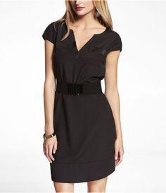 Express Womens Pocket Front Contrast Trim Belted Shift Dress Pitch