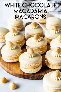 White Chocolate Macadamia Macarons filled with White Chocolate Macadamia Ganache, dipped in white chocolate and decorated with a macadamia nut. White Chocolate Macadamia, White Chocolate Chips, Baking Recipes, Cookie Recipes, Dessert Recipes, Party Recipes, Dessert Ideas, Easy Desserts, Delicious Desserts