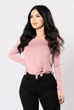 - Available in Ivory, Antique Mauve, and Black - Long Sleeve - Side Knot - Scoop Neck - Made in USA - 96% Rayon 4% Spandex