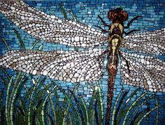 Beautiful close up view of a dragonfly created from various types of cut glass. Beautiful vivid sky background and interesting off-center positioning of the insect create a unique composition.Each piece in the wings has been cut down to a circle to captu… Glass Wall Art, Stained Glass Art, Mosaic Glass, Mosaic Tiles, Mirror Mosaic, Mosaic Tray, Mosaic Bathroom, Mosaic Wall, Mosaic Crafts