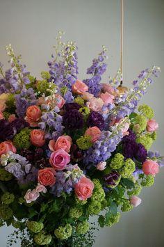 rose,eustoma and delphinium