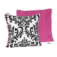 Amazon.com: Hot Pink, Black and White Isabella Decorative Accent Throw Pillow by JoJO Designs: Home & Kitchen