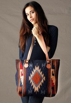 Womens Tote Purses, Hand-Woven Wool Tote Purse with Leather Shoulder Straps Tote Purse, Tote Handbags, Purses And Handbags, Sac Vanessa Bruno, Ethno Style, Bag Women, Ethnic Bag, Carpet Bag, Fabric Bags