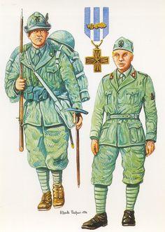 """Regio Esercito - Alpino del Battaglione """"Val Leogra"""", 1940-41 - Soldato di Sanità, Ospedale militare di Vicenza, 1943 - Croce al merito di Guerra"""