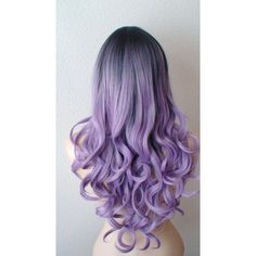 Dark roots Pastel lavender wig. Light purple/ Long curly fashion... ($160) ❤ liked on Polyvore featuring beauty products, haircare, hair styling tools, hair, blablabla, colored hair and curly hair care