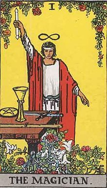 """The Magician displaying the Hermetic concept of """"As above, so below."""""""