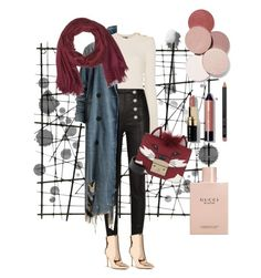 """""""Untitled #13"""" by ipeeks on Polyvore featuring Balmain, Forever 21, Furla, Coach, LunatiCK Cosmetic Labs, Bobbi Brown Cosmetics, Gucci and winterscarf"""