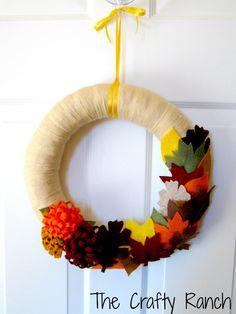 Fall Leaf and Mum Yarn Wreath  14 inches by lorange26 on Etsy, $30.00