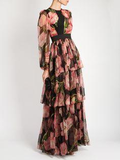 Tulip-print ruffle-trimmed silk gown | Dolce & Gabbana | MATCHESFASHION.COM