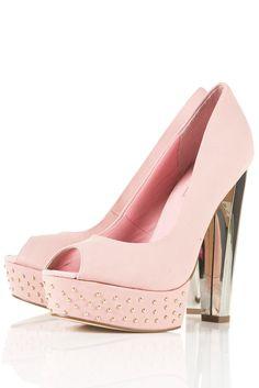Peep toe rosa con tachuelas y tacón metalizado de Top Shop