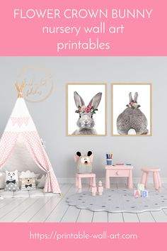 Nursery wall art printables featuring acute bunny rabbit front and back, wearing a flower crown in shades of pink and ivory. Perfect nursery wall art for a baby girl, or for a girl's bedroom. Instant download bunny prints. Bunny Nursery, Nursery Wall Art, Girl Nursery, Girl Room, Nursery Decor, Bedroom Decor, Floral Nursery, Floral Wall Art, Kids Room Design