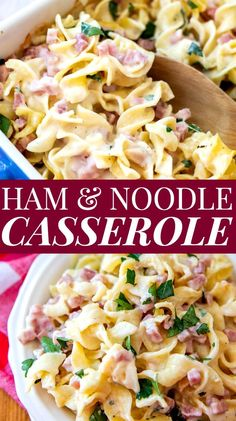 Ham and Noodle Casserole is an easy recipe for leftover ham that your family will love Ham Noodle Bake Easy Leftover Ham Casserole Easy Best Old-Fashioned Casserole Bake Dinner # Leftover Ham Casserole, Ham And Noodle Casserole, Easy Casserole Recipes, Ham And Cheese Casserole, Rice Casserole, Ham Dishes, Pasta Dishes, Food Dishes, Leftovers Recipes