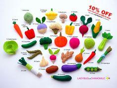 VEGETABLES felt magnets - Price per 1 item - make your own set - Onion,Paprika,Garlic,Chilli,Tomato,Beans,Carrot,Turnip,Cauliflower,Radish