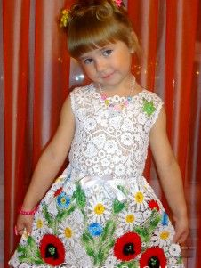 Платье для девочки - ирландское кружево