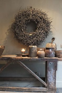 Collection of old pos on a rustic wooden console table – Nathalie Maatman – – Rustic House Decoration Shabby, Rustic Decor, Rustic Table, Flexible Molding, Wooden Console Table, Home And Deco, Rustic Charm, Rustic Interiors, Wabi Sabi