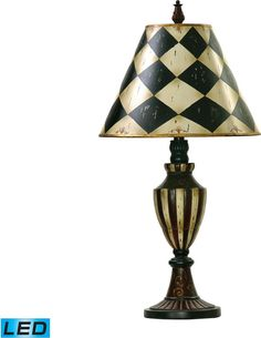 0-027425>Harlequin And Stripe Urn 1-Light LED 3-Way Table Lamp Black / Antique White