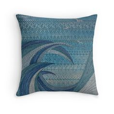 The Churning (embroidered seascape) Throw Pillows