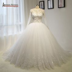 Aliexpress.com: Compre Novias fotos reais de luxo bordado Beading mangas vestido de baile vestido de 2015 de confiança vestido ballet fornecedores em Amanda Novias Wedding Dress