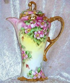 """Spectacular J.P.L. Limoges France 1900's Hand Painted Vibrant \""""Wild Pink Roses\"""" 11-1/2\"""" Ornate & Heavy Gilded Gold Chocolate Pot, by the Listed Early Chicago Artist, \""""Rosa Kelly\"""""""