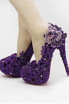 High Heel Fashion Flower Rhinestone Bridal Shoes Purple Lace Wedding Shoes Sparkly Wedding Shoes, Bridal Wedding Shoes, Lace Wedding, Bridal Shoes Wedges, Bride Flats, Davids Bridal Shoes, Girls Designer Dresses, Fashion Walk, Flower Fashion