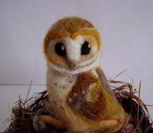 Whoooo whoooooo... Michelle Palmer artist Owl Bird needle felted wool roving