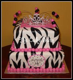 pink zebra tiara cake