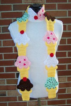 CROCHET Ice Cream Cone Scarf PATTERN by FiercePixyBoutique on Etsy, $7.00