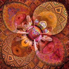 Mosque ceiling in Shiraz, Iran Image Mosque Architecture, Art And Architecture, Persian Architecture, Ancient Architecture, Pink Mosque, Shiraz Iran, Beautiful Mosques, Architectural Photographers, Grand Mosque