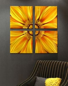 Sunflower Canvas Set of Four Wall Arts In Yellow